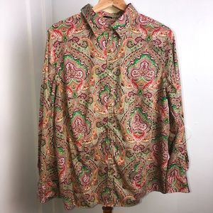 Talbots Paisley Print Button Down Top